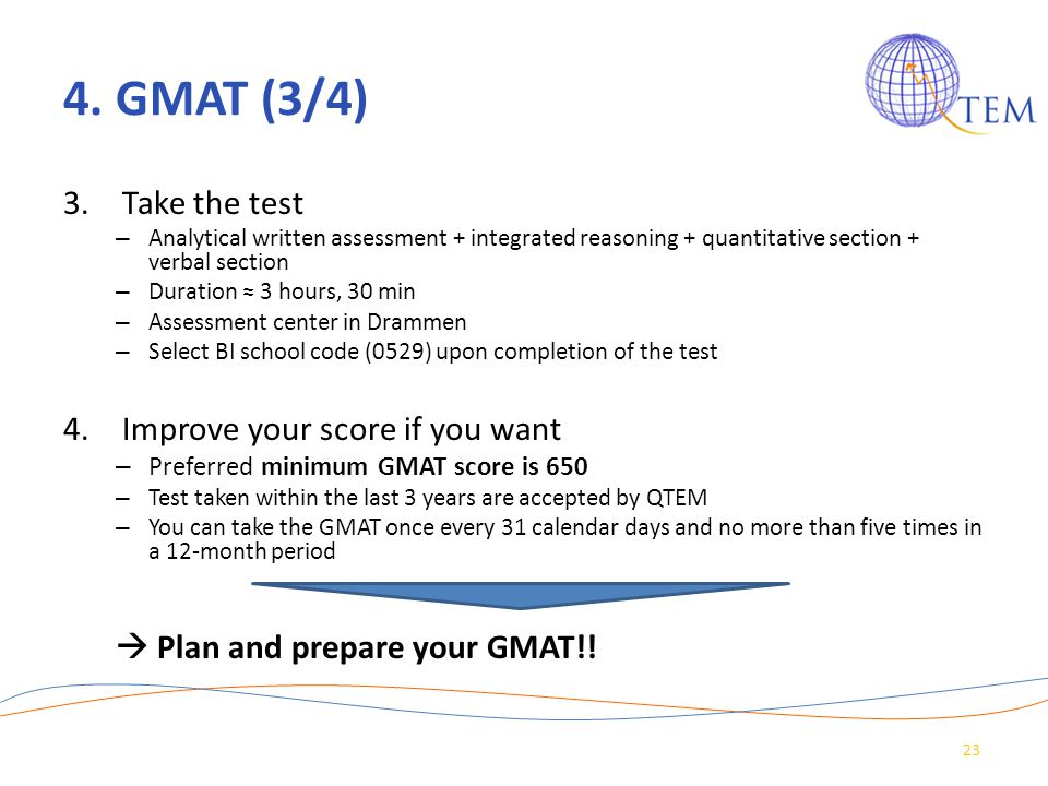 4. GMAT (3/4) Take the test Improve your score if you want
