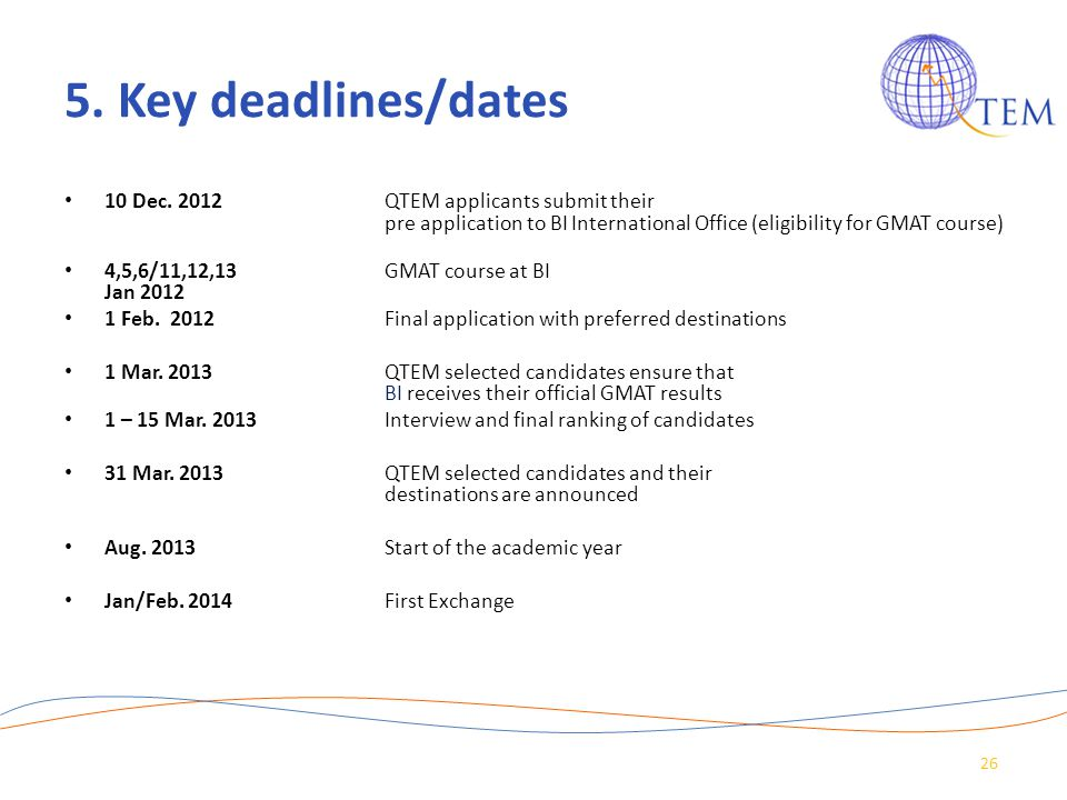 5. Key deadlines/dates 10 Dec. 2012 QTEM applicants submit their pre application to BI International Office (eligibility for GMAT course)