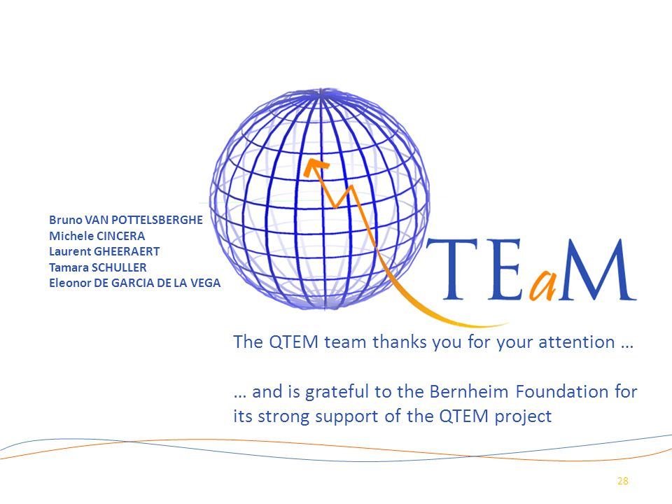 The QTEM team thanks you for your attention …