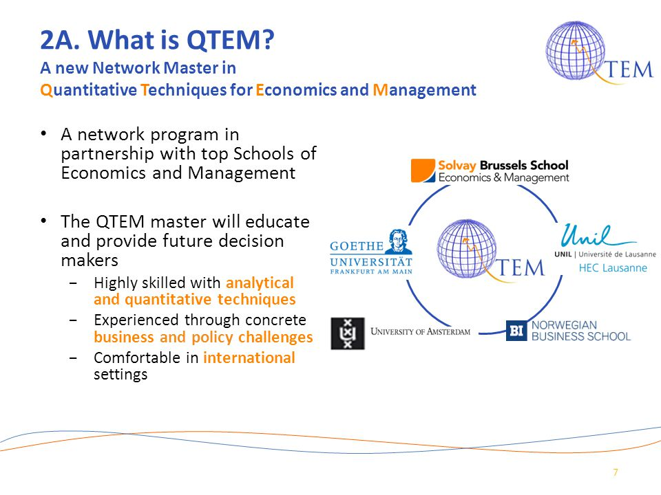 2A. What is QTEM A new Network Master in Quantitative Techniques for Economics and Management