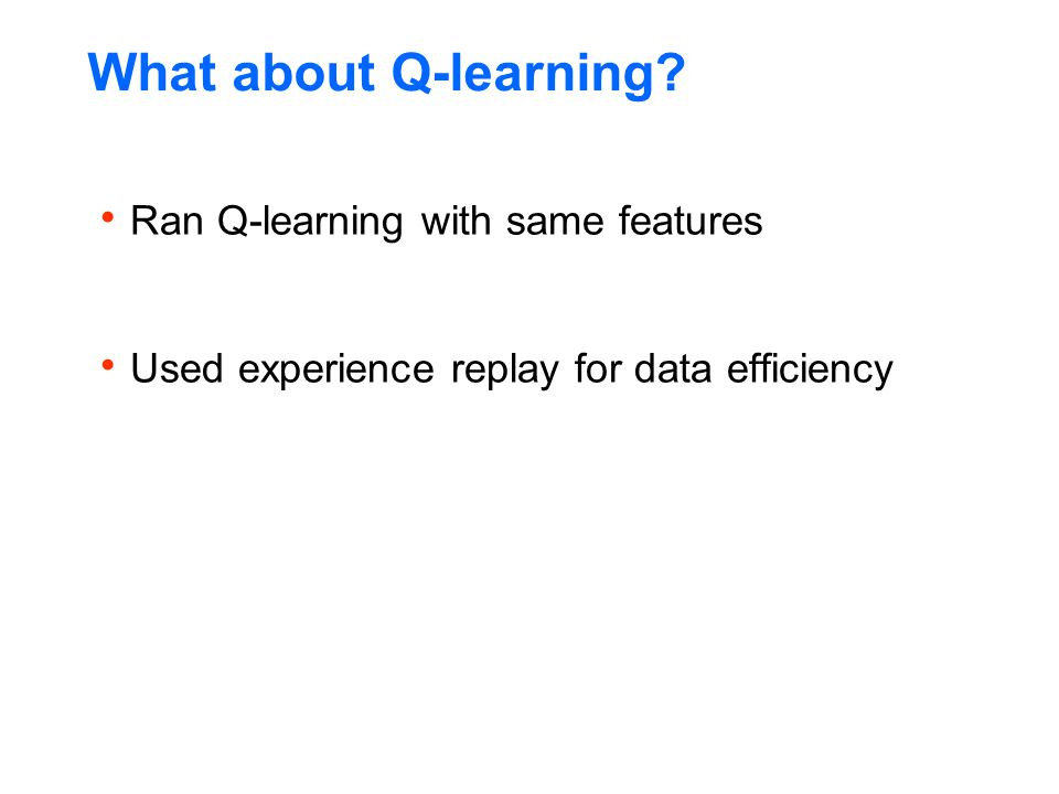 What about Q-learning Ran Q-learning with same features