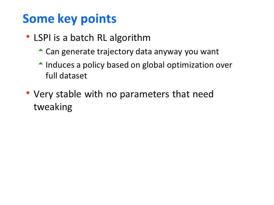 Some key points LSPI is a batch RL algorithm