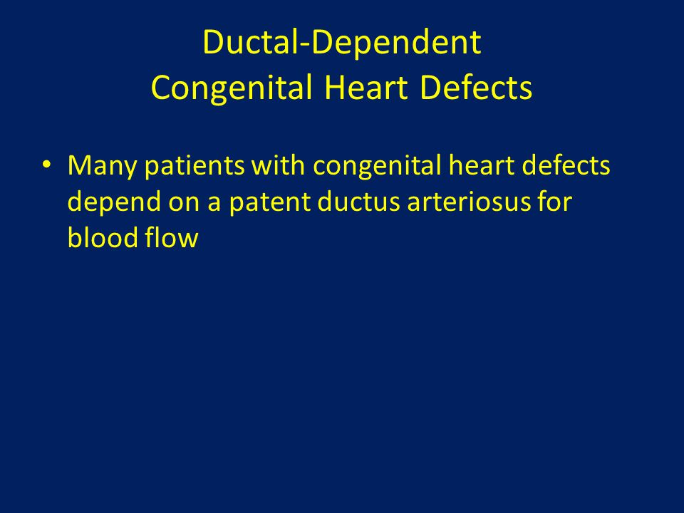 Ductal-Dependent Congenital Heart Defects