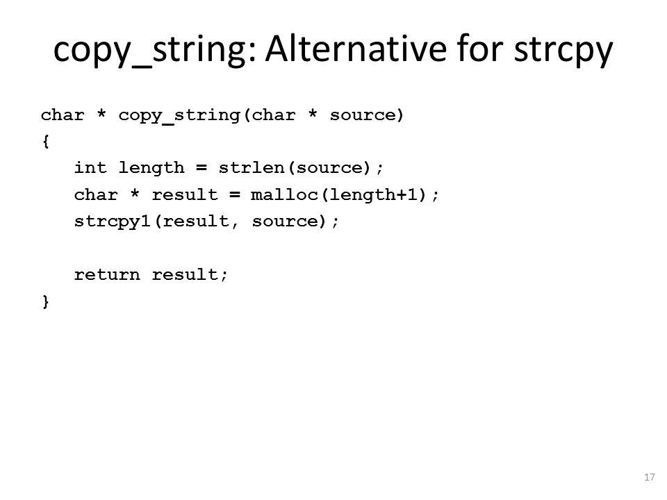 copy_string: Alternative for strcpy