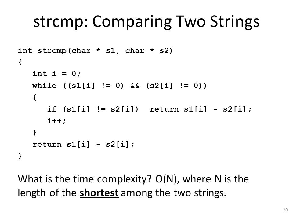 strcmp: Comparing Two Strings