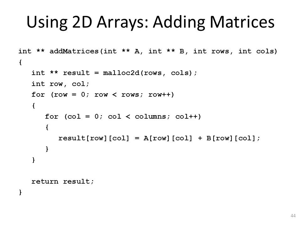how to add columns in a 2d array
