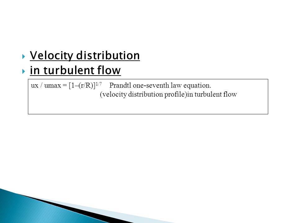 Velocity distribution in turbulent flow