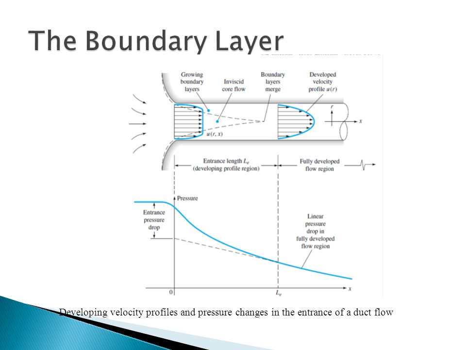The Boundary Layer Developing velocity profiles and pressure changes in the entrance of a duct flow