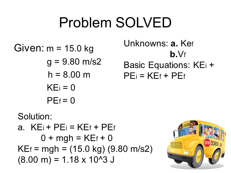 Problem SOLVED Given: m = 15.0 kg Unknowns: a. Kef b.Vf g = 9.80 m/s2