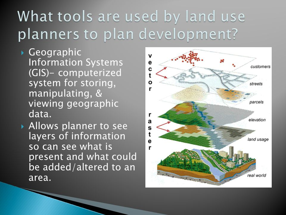 What tools are used by land use planners to plan development