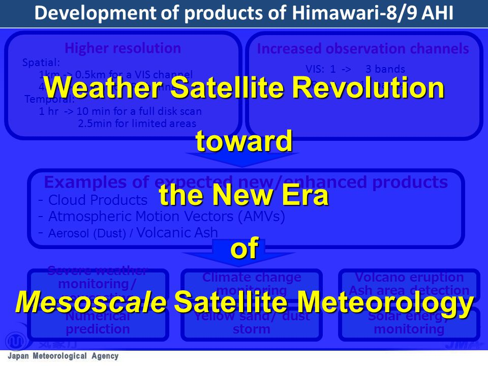 We greatly appreciate kind cooperation of NOAA/NESDIS and EUMETSAT.