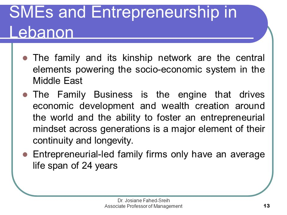 SMEs and Entrepreneurship in Lebanon