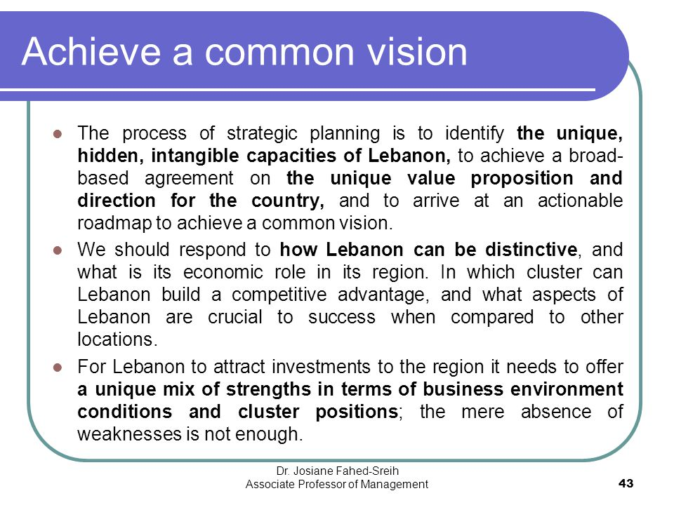 Achieve a common vision