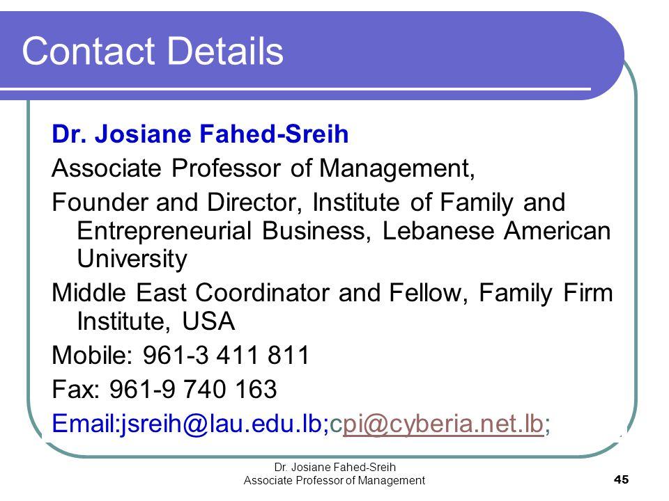 Dr. Josiane Fahed-Sreih Associate Professor of Management