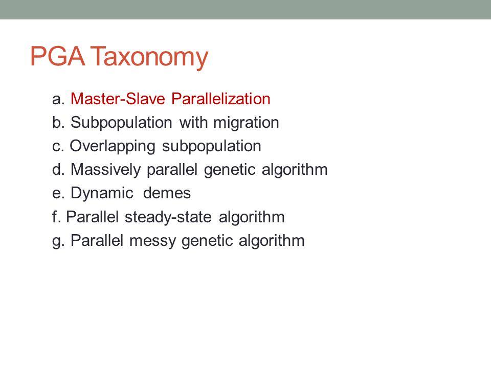 PGA Taxonomy a. Master-Slave Parallelization