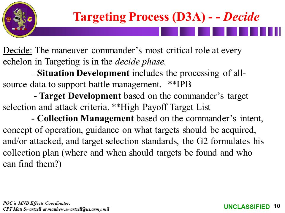 Targeting Process (D3A) - - Decide