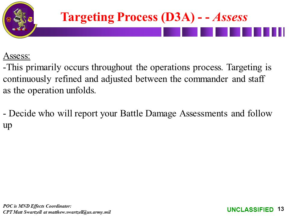 Targeting Process (D3A) - - Assess