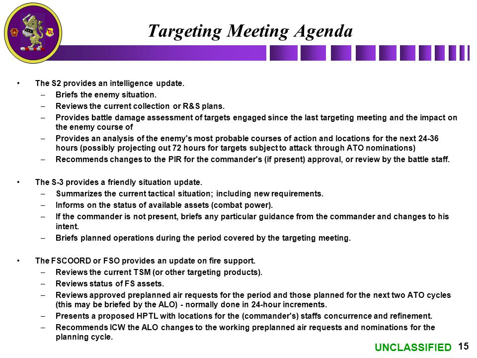 Targeting Meeting Agenda