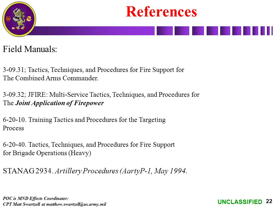 References Field Manuals: