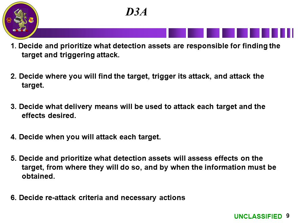 D3A 1. Decide and prioritize what detection assets are responsible for finding the target and triggering attack.