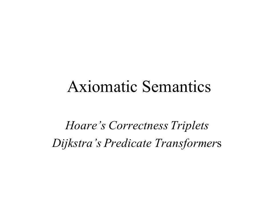Hoare's Correctness Triplets Dijkstra's Predicate Transformers