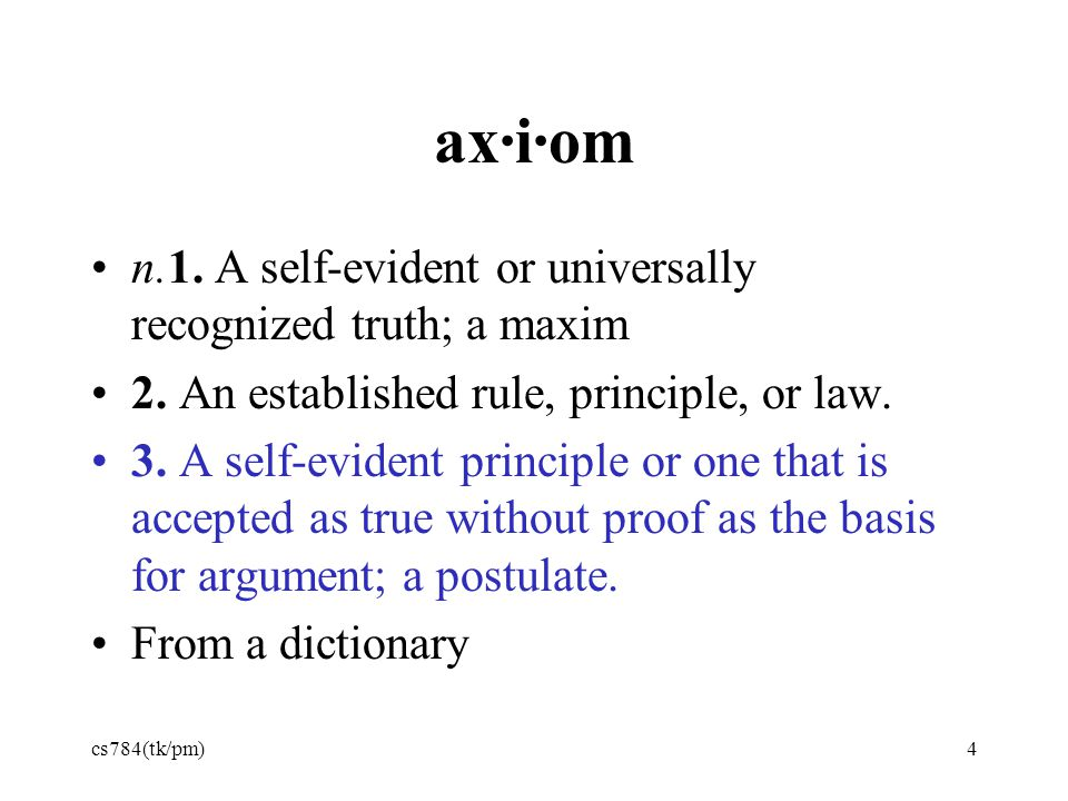 ax·i·om n.1. A self-evident or universally recognized truth; a maxim