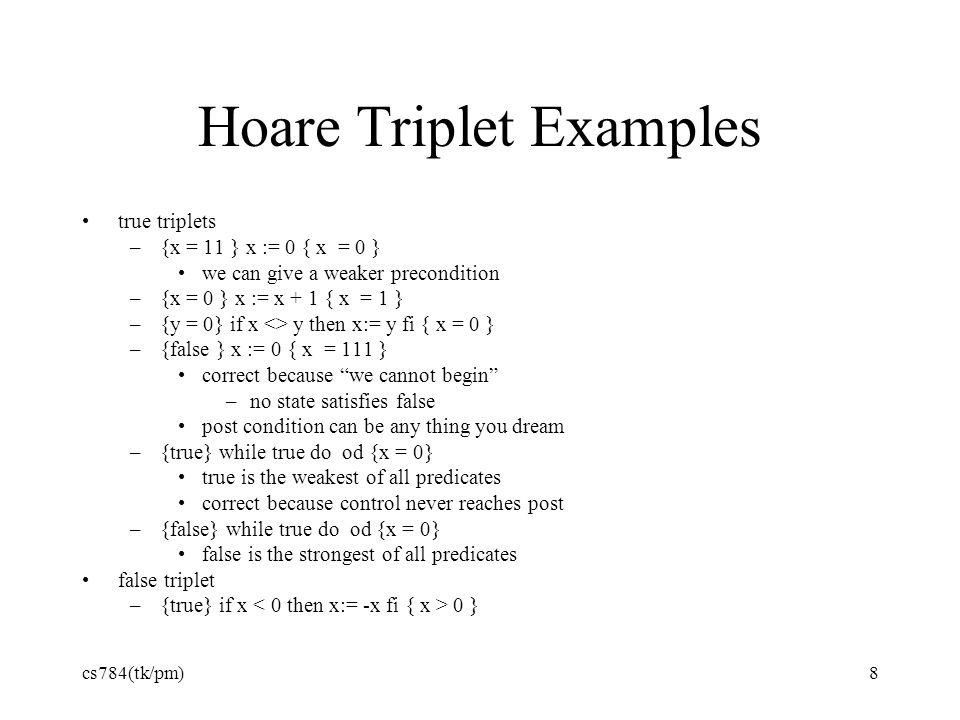 Hoare Triplet Examples