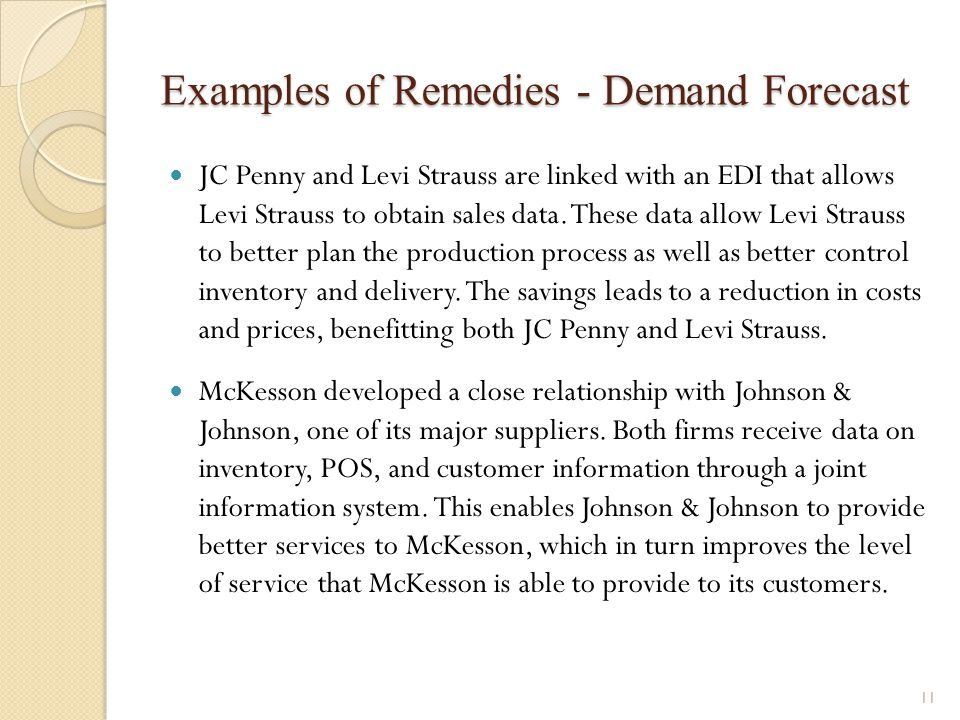 Examples of Remedies - Demand Forecast