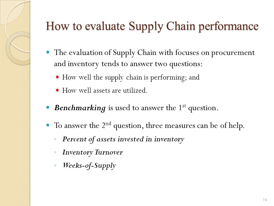 How to evaluate Supply Chain performance