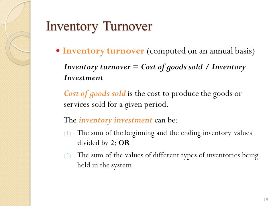 Inventory Turnover Inventory turnover (computed on an annual basis)