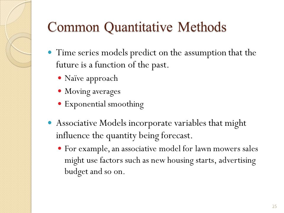 associative and time series forecasting models Choosing the most appropriate forecasting method for your time series is  the  models are fitted only in the first part of the time series and the.