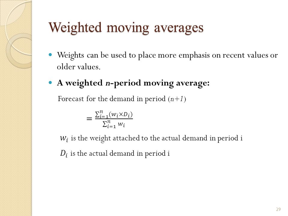 Weighted moving averages