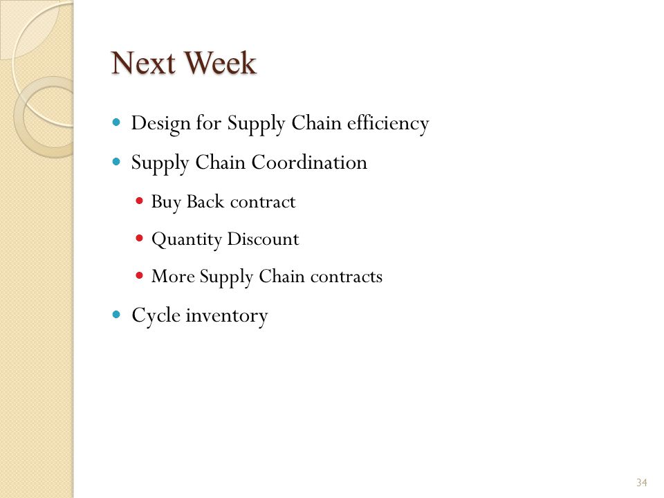 Next Week Design for Supply Chain efficiency Supply Chain Coordination
