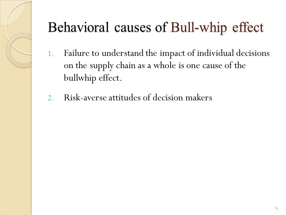 Behavioral causes of Bull-whip effect