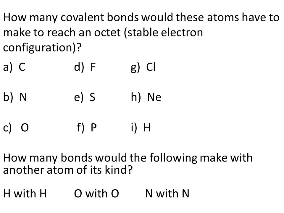How many covalent bonds would these atoms have to make to reach an octet (stable electron configuration)