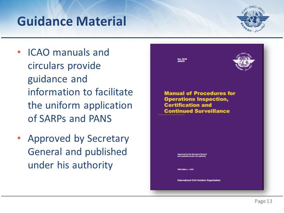 Guidance Material ICAO manuals and circulars provide guidance and information to facilitate the uniform application of SARPs and PANS.