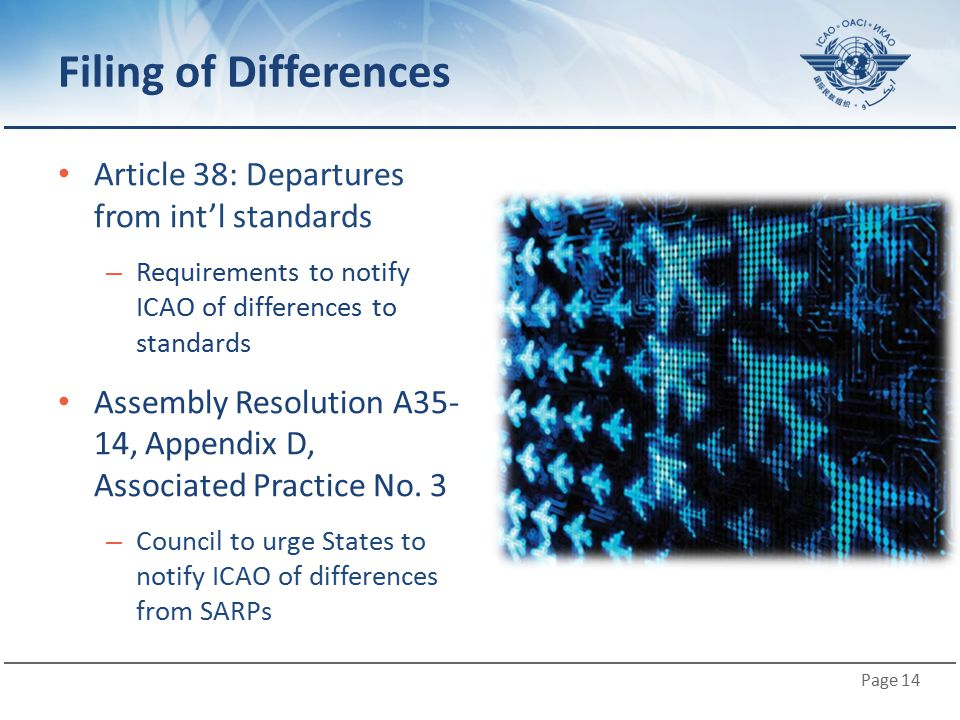 Filing of Differences Article 38: Departures from int'l standards
