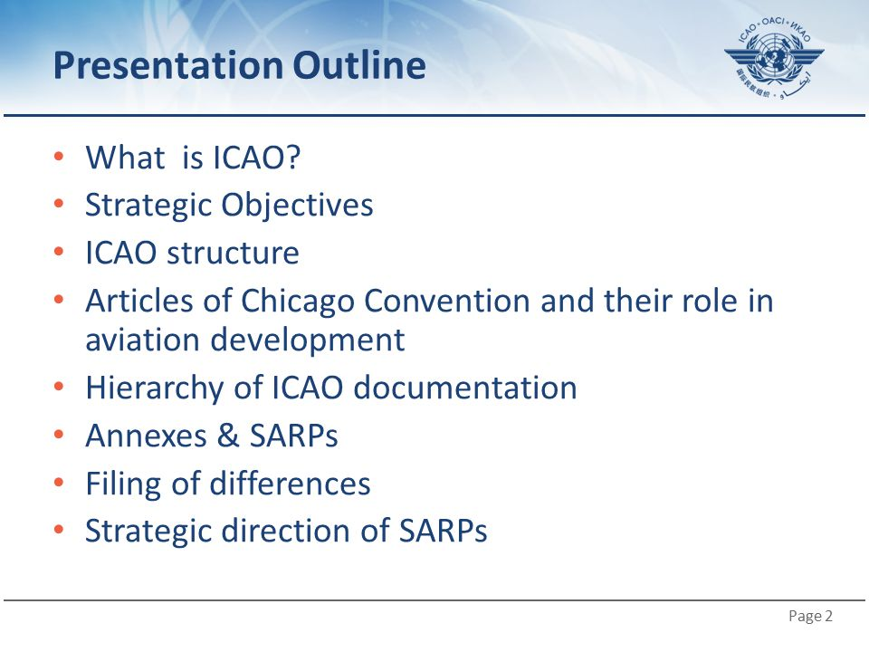Presentation Outline What is ICAO Strategic Objectives ICAO structure