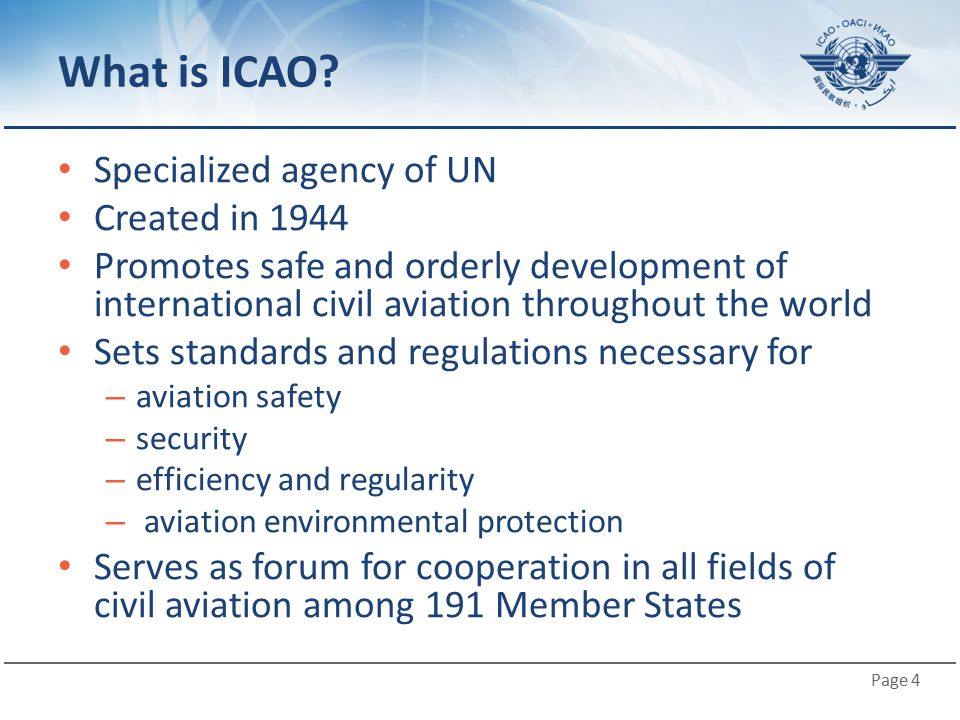 What is ICAO Specialized agency of UN Created in 1944