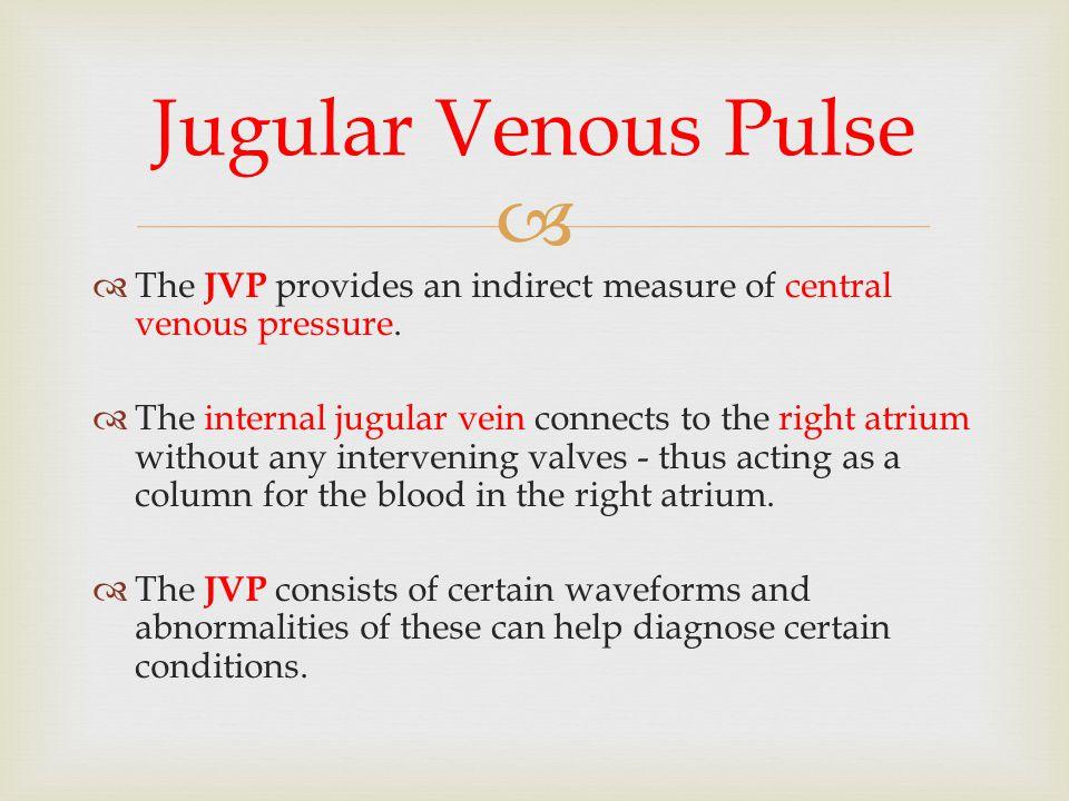 Jugular Venous Pulse The JVP provides an indirect measure of central venous pressure.
