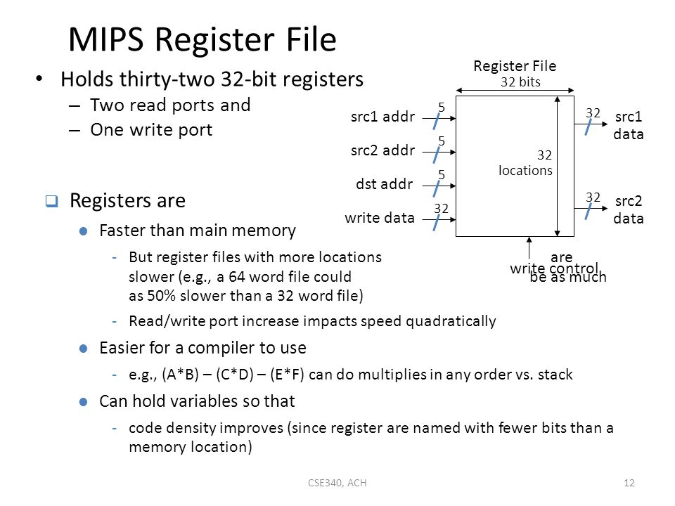 MIPS Register File Holds thirty-two 32-bit registers Registers are
