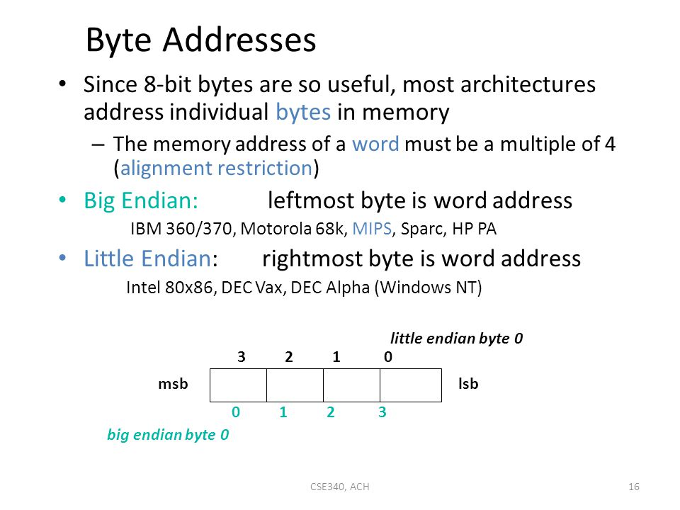 Byte Addresses Since 8-bit bytes are so useful, most architectures address individual bytes in memory.