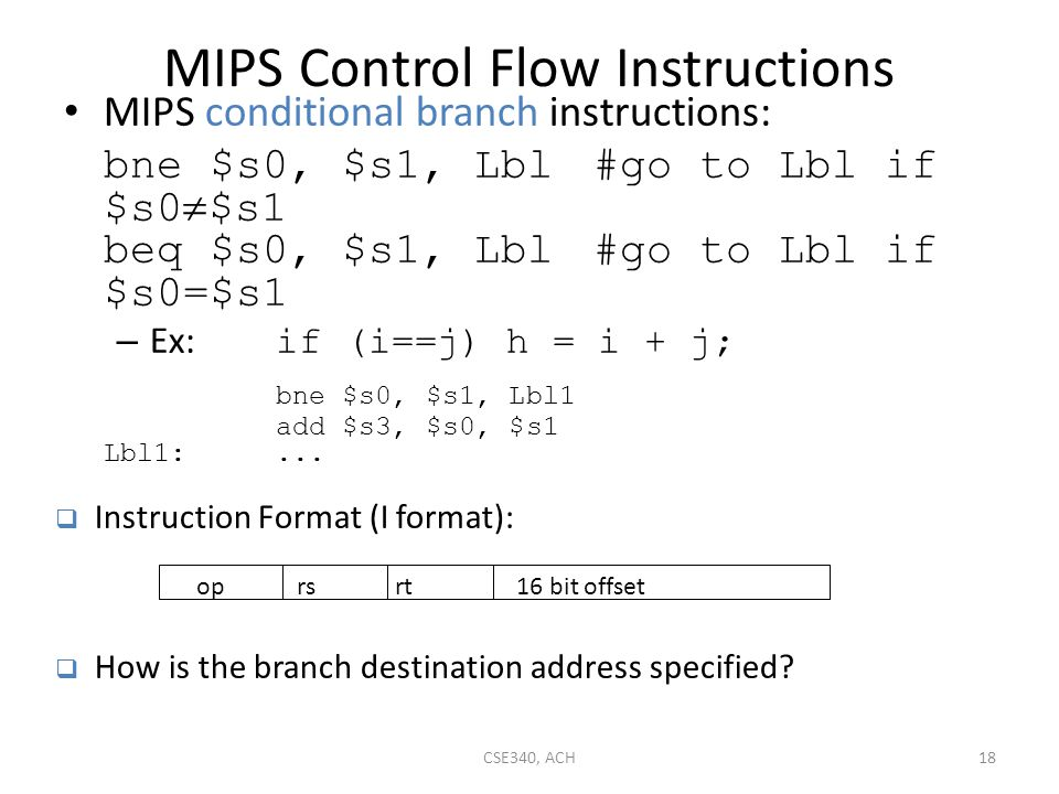 MIPS Control Flow Instructions