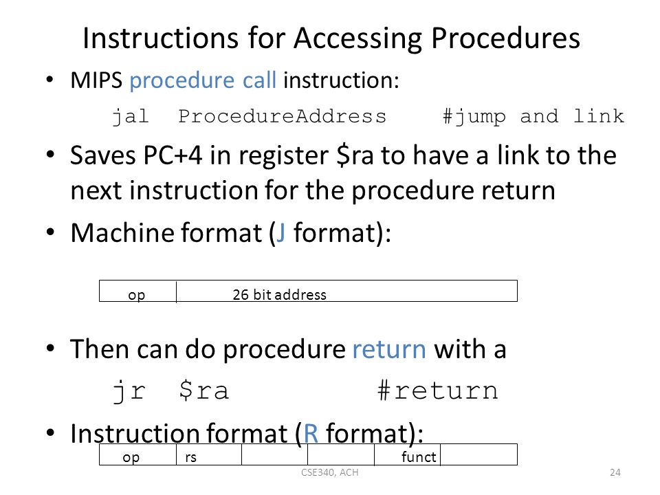 Instructions for Accessing Procedures