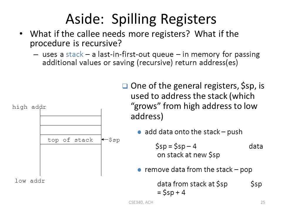 Aside: Spilling Registers