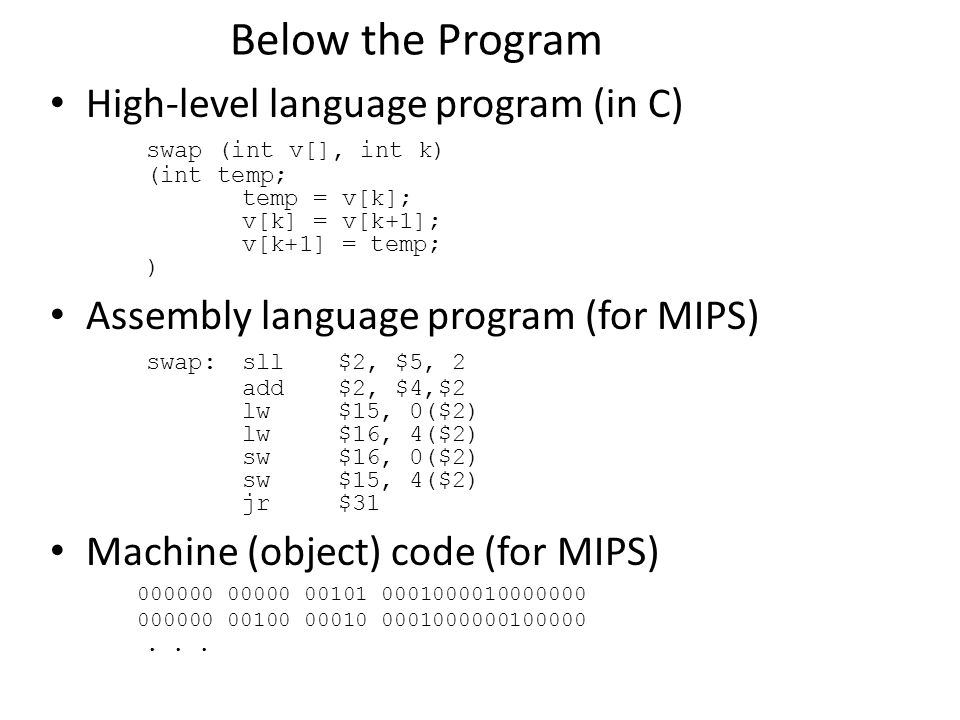 Below the Program High-level language program (in C)