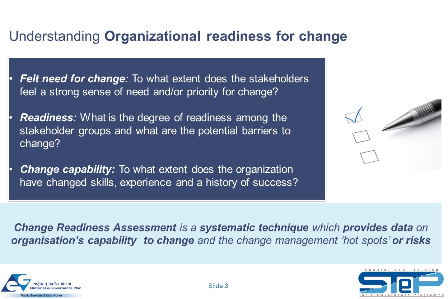 Understanding Organizational readiness for change