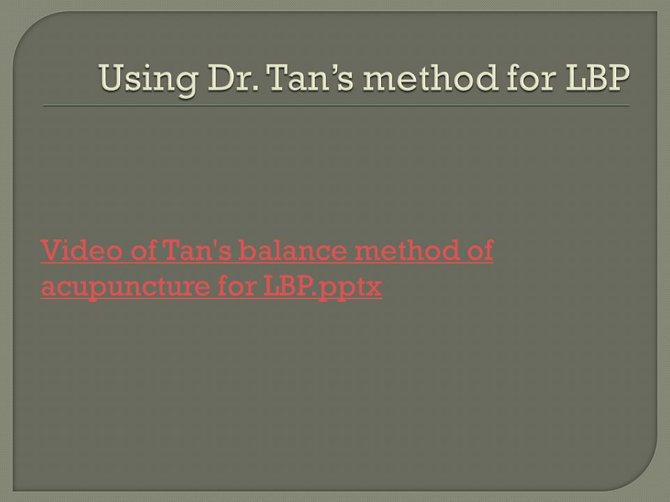 Using Dr. Tan's method for LBP