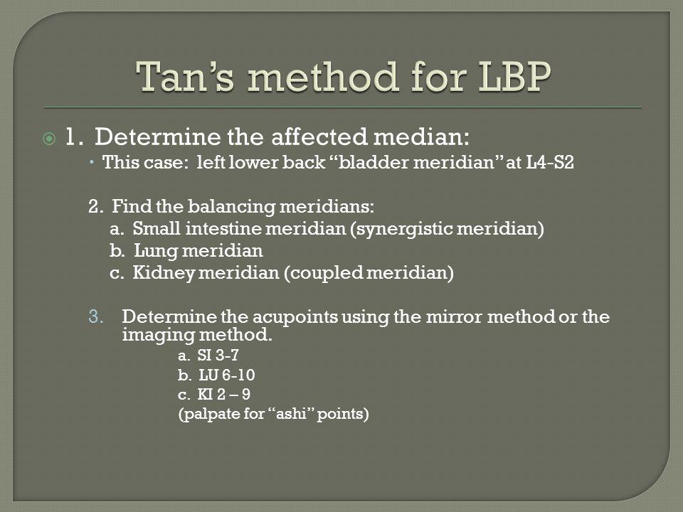 Tan's method for LBP 1. Determine the affected median: