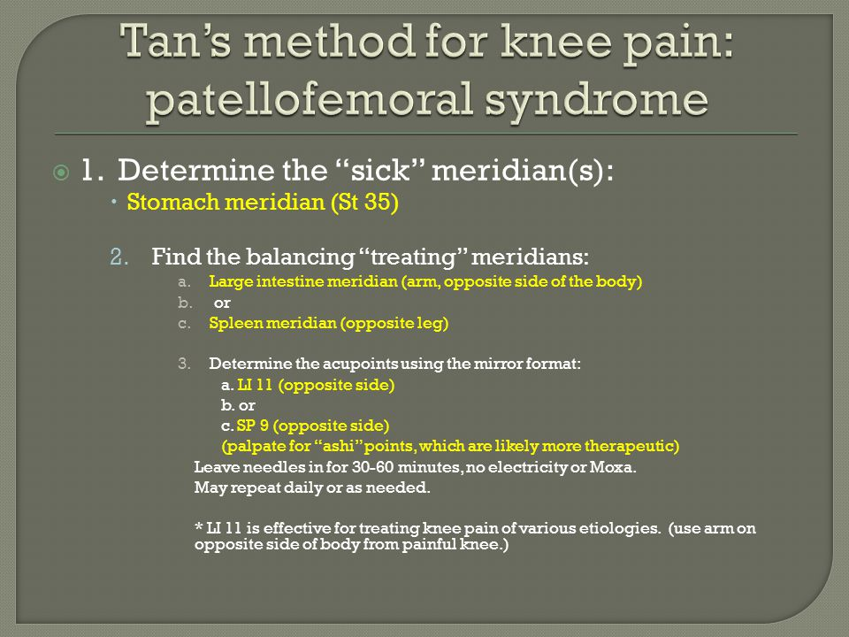 Tan's method for knee pain: patellofemoral syndrome